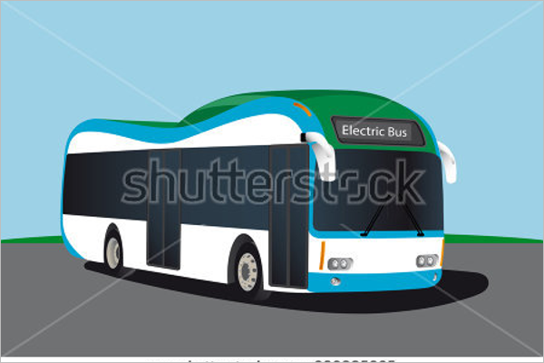 Electric Bus Illustration Vector