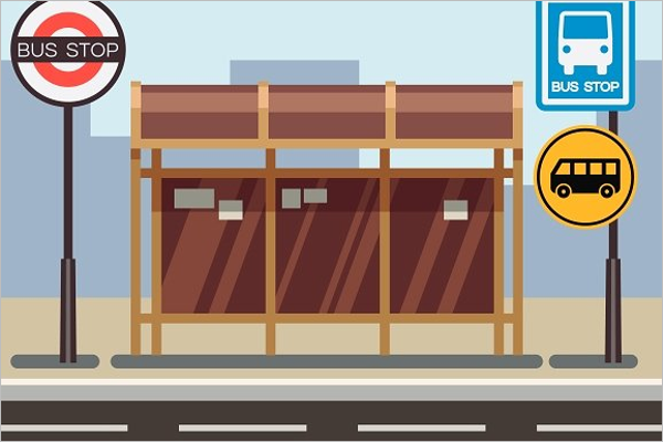 Elegant Bus Stop Illustration Vector