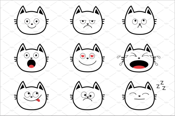 Emoji Cat Face Vector Design