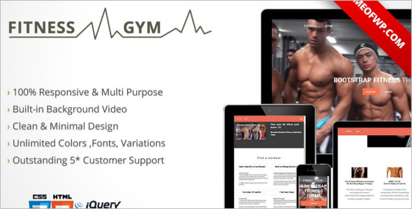 Fitness Bootstrap HTML 5 Template