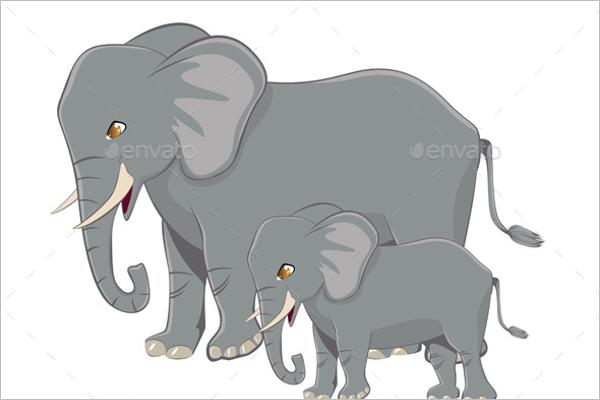 Flat Cartoon Elephant Template