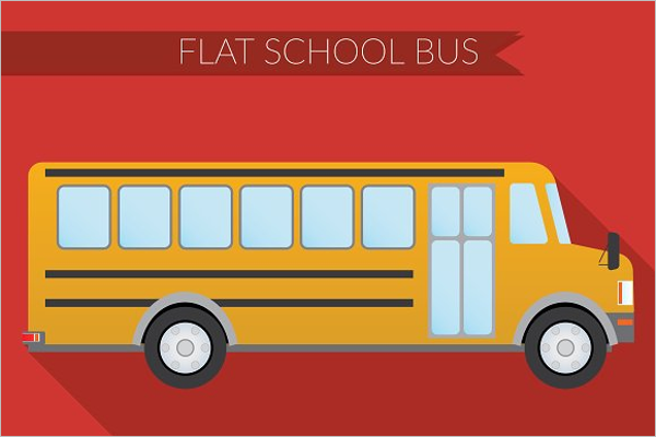 Flat School Bus Illustration Vector