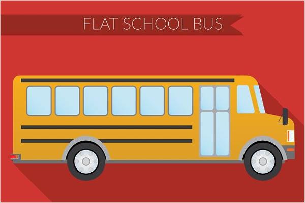 Flat School Bus Illustration Vector