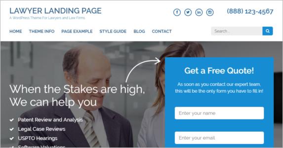 Free WordPress Landing Page Theme