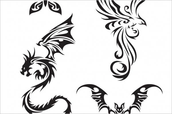 Free vector Tattoo Dragon Design