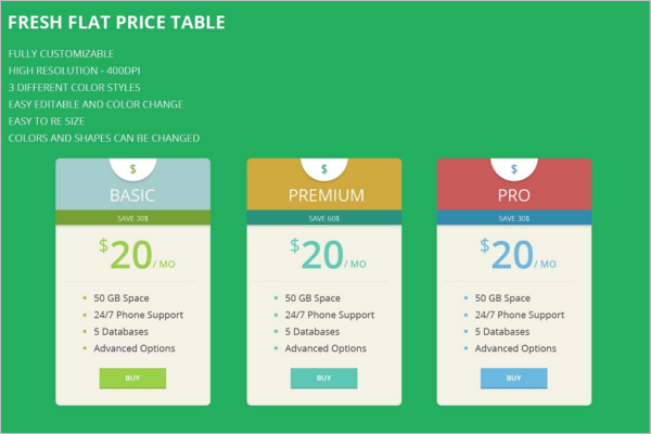 Fresh Flat Price Table Template