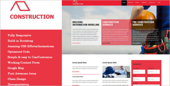 Fully Responsive Construction HTML5 Template