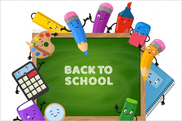 Green Chalkboard Back to School Background