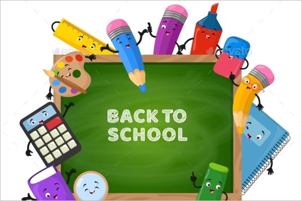 Green Chalkboard Back to School Background