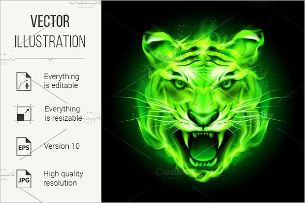 Green Tiger Tattoo Design