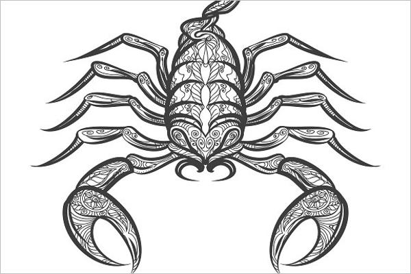 Hand Drawn Scropio Tattoo Design