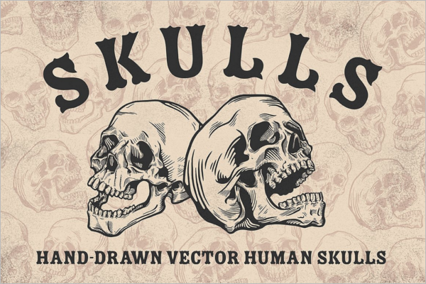 Hand draw Human Skull Design