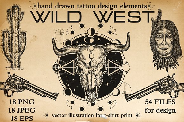 Hand drawn Skull Tattoo Design