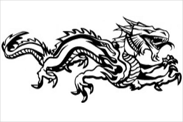 Horizontal Dragon Tattoo Design