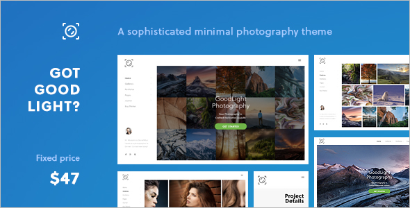 Horizontal WordPress Theme for Photographers