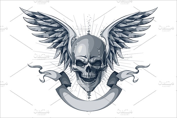 Human Skull Illustration Design