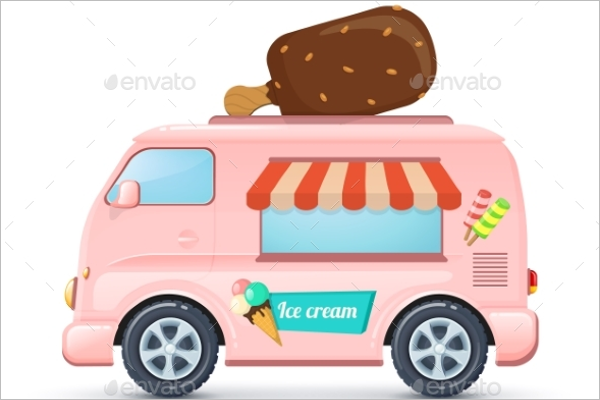 Ice Cream Van Illustration Vector
