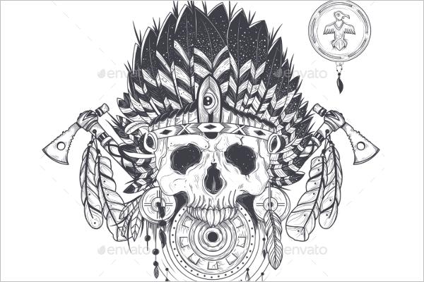 Indian Human Skull Design