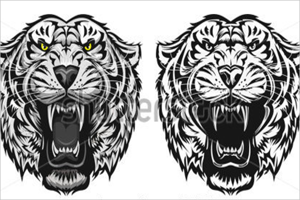 Isolated Tiger Tattoo Design