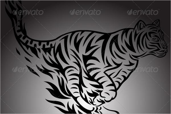 Jumping Tiger Tattoo Design