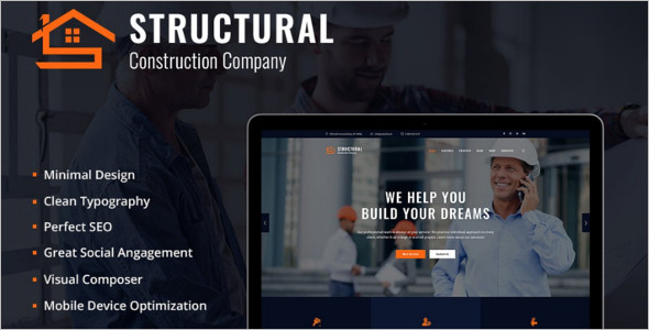 Minimal Construction Building HTML Template