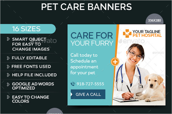 Minimal Pet Care Banner Design