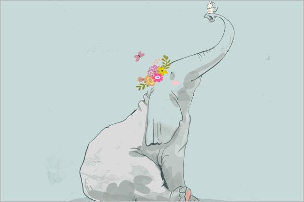 Modern Cartoon Elephant Template
