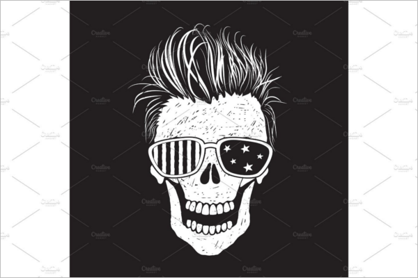 Modern Human Skull Illustration Design