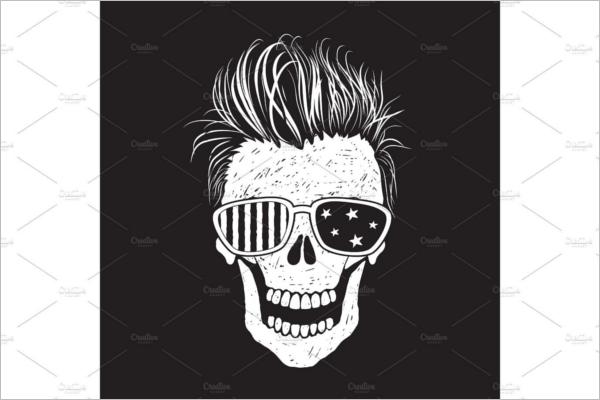 Modern Human Skull Illustration Design
