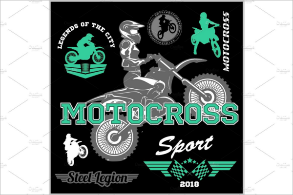 Motocross Rider Badge Logo Design