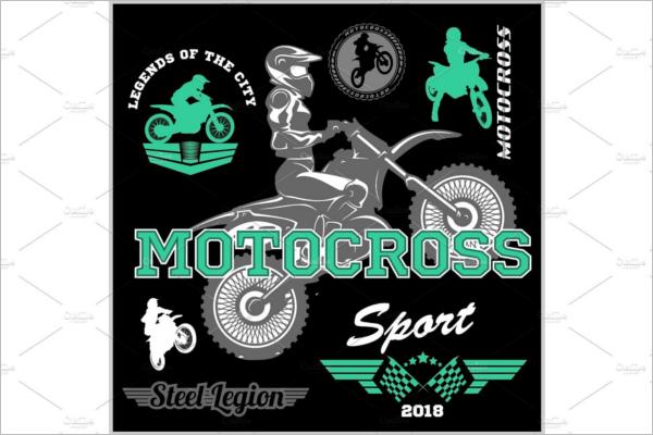 Motocross Rider Badge Logo Design
