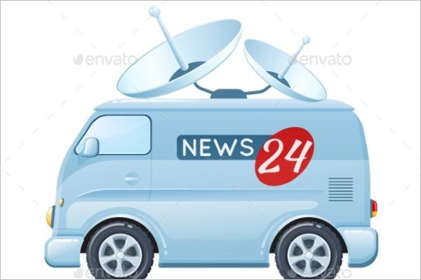 News Reporter Bus Illustration Vector