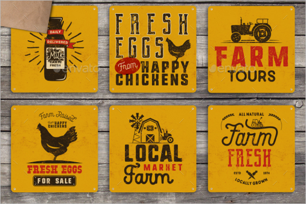 Organic Farm Vintage Badge Template