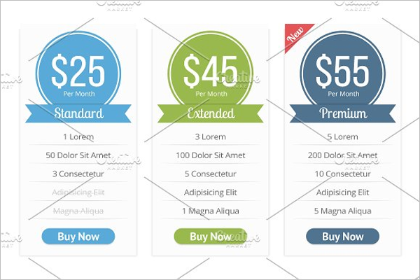 Photoshop Website Pricing Table Template