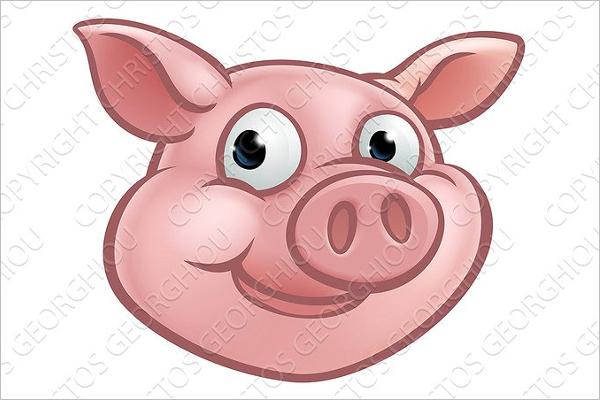 Pig Mascot Face Vector Design