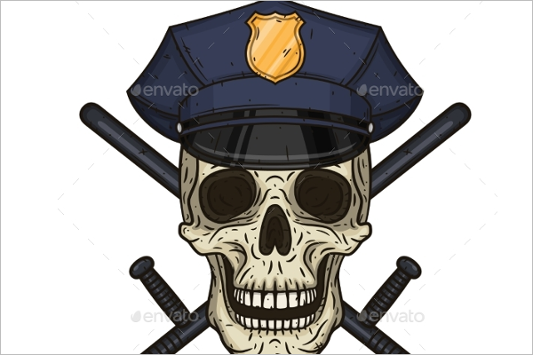 Police Cap Human Skull Vector Design