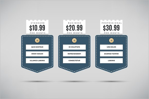 Pricing Table Abstract Template