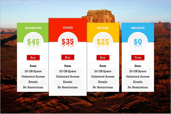 Pricing Table PowerPoint Template