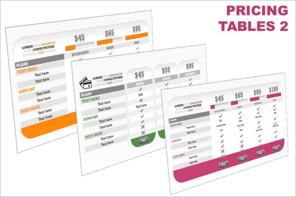 Pricing Table Template HTML