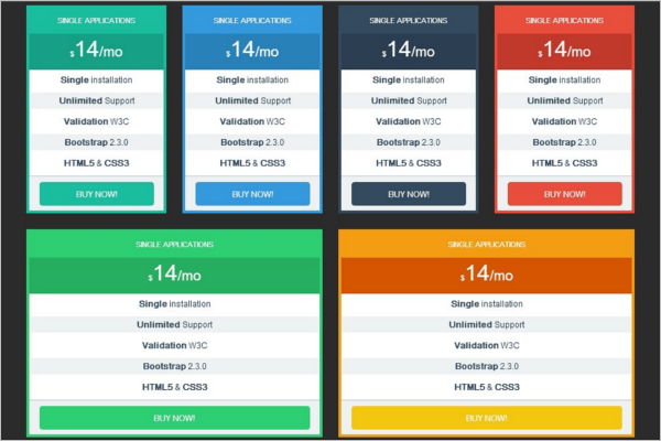 Pricing Tables Bootstrap Responsive Template