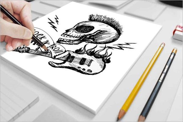 Printable Skull Tattoo Design