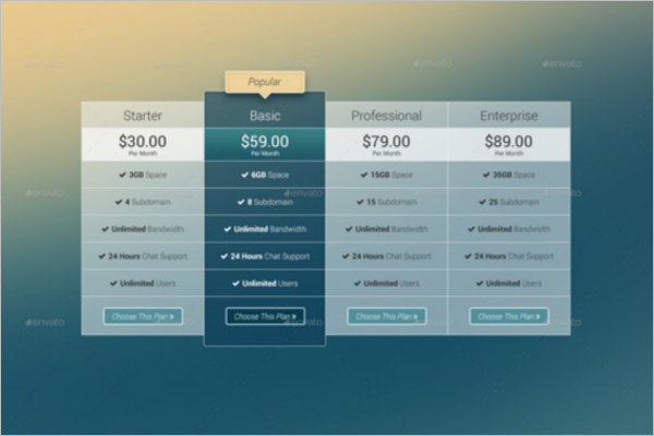 Professional Website Pricing Table