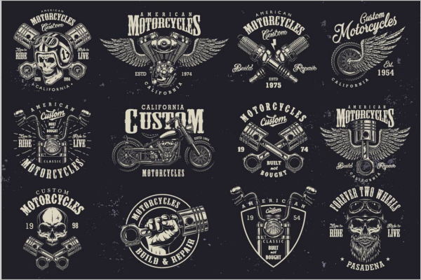 Retro Motorcycle Logo Design