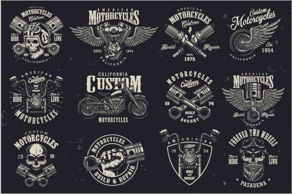 Retro Motorcycle Logo Design