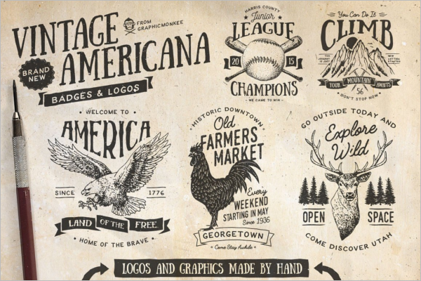 Rooster Vintage Badge Template