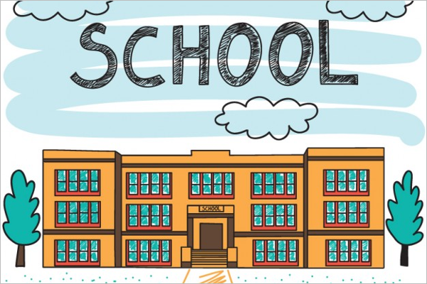 School Building Background Design
