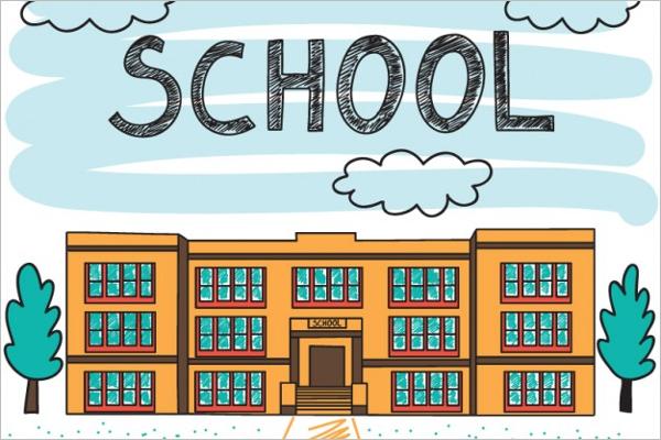 School Building Background Design