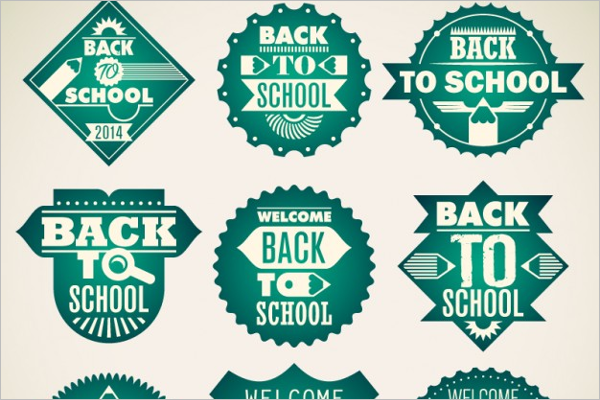 School Green Badges Design