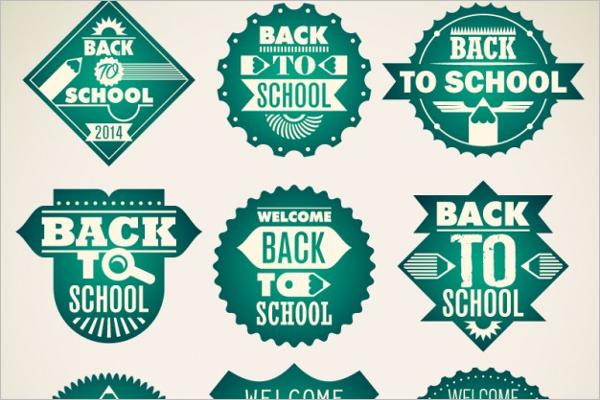 School Green Badges Design