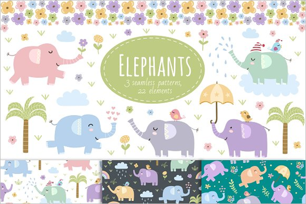 Seamless Cartoon Elephant Pattern